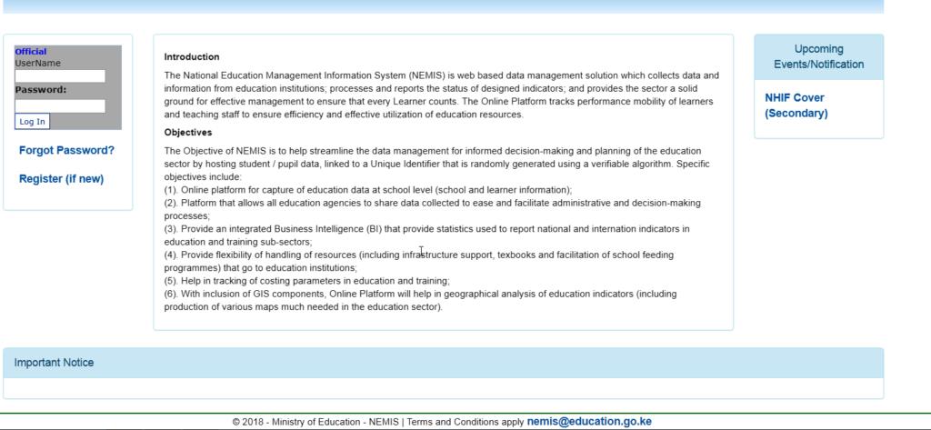 NEMIS Form 1 Admission Process